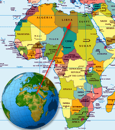 Libya On Map Of Africa Map with Country in Relation to Africa   Libya